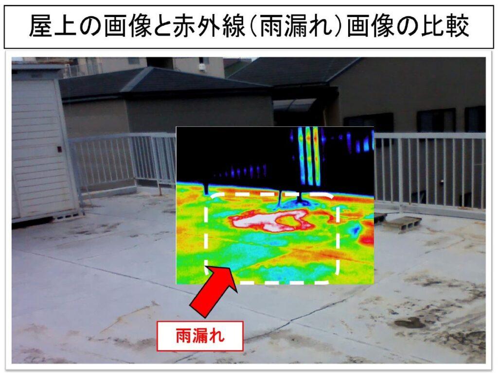 屋上の画像と赤外線(雨漏れ)画像の比較